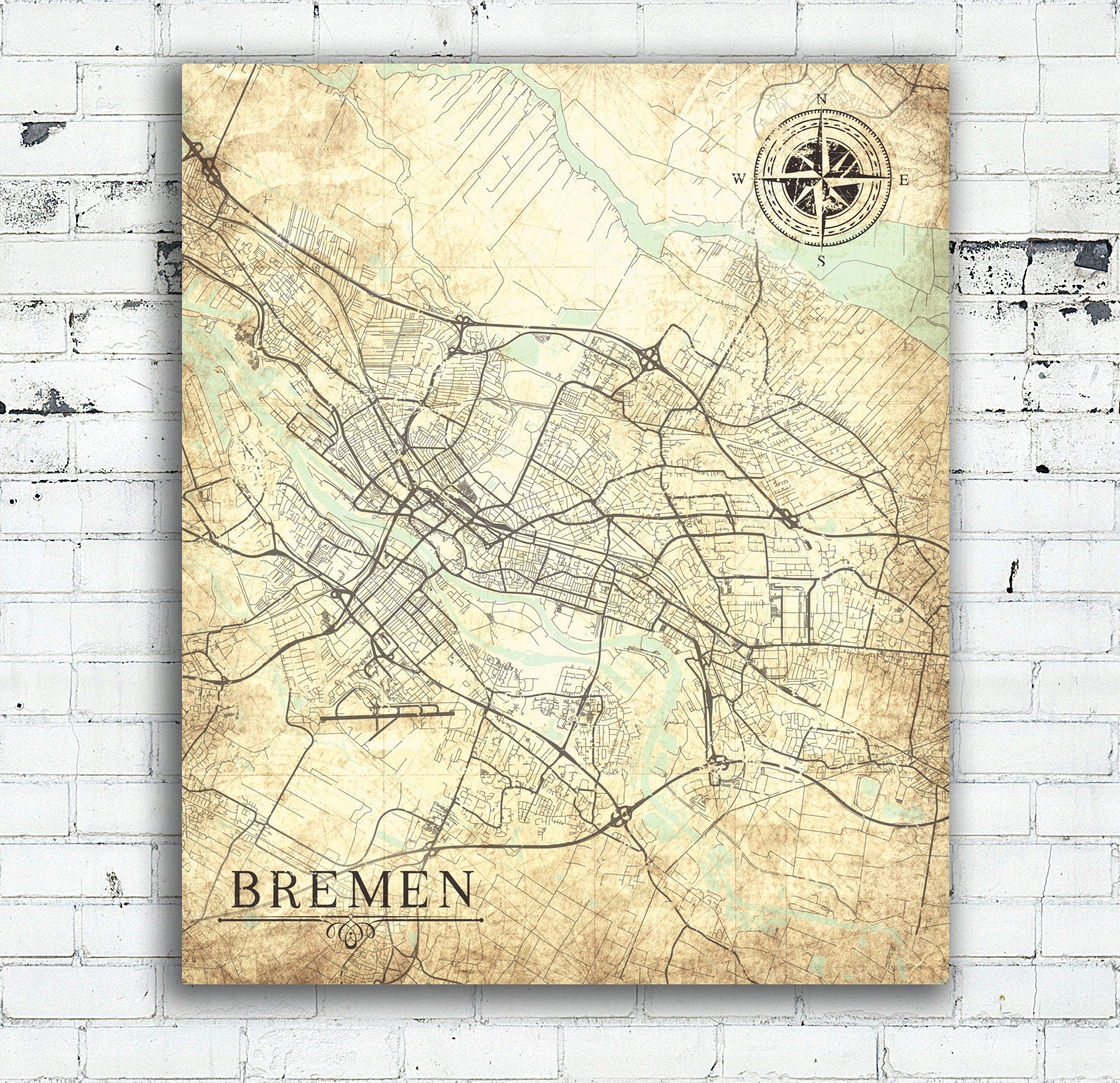 BREMEN Canvas Print Germany Vintage map Bremen City Germany Vintage ...