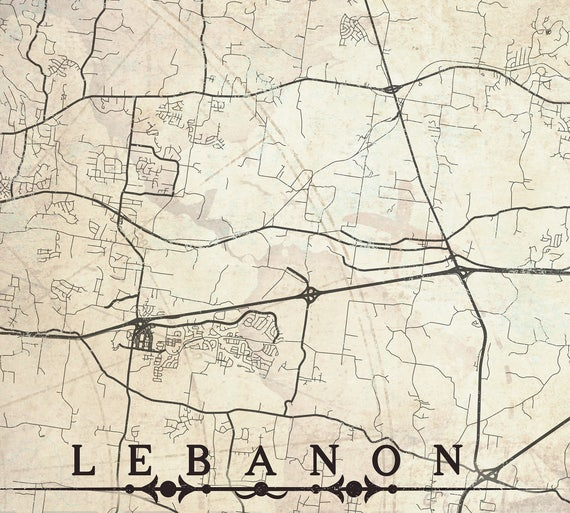 Lebanon Tn Canvas Print Tennessee Tn Vintage Map City Horizontal Large Wall Art Vintage Map Panoramic Home Decor Gift Poster Antique Old Map