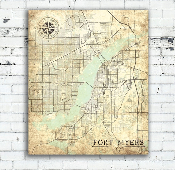 Ft Myers Map Of Florida.Fort Myers Fl Canvas Print Florida Vintage Map Fort Myers Etsy