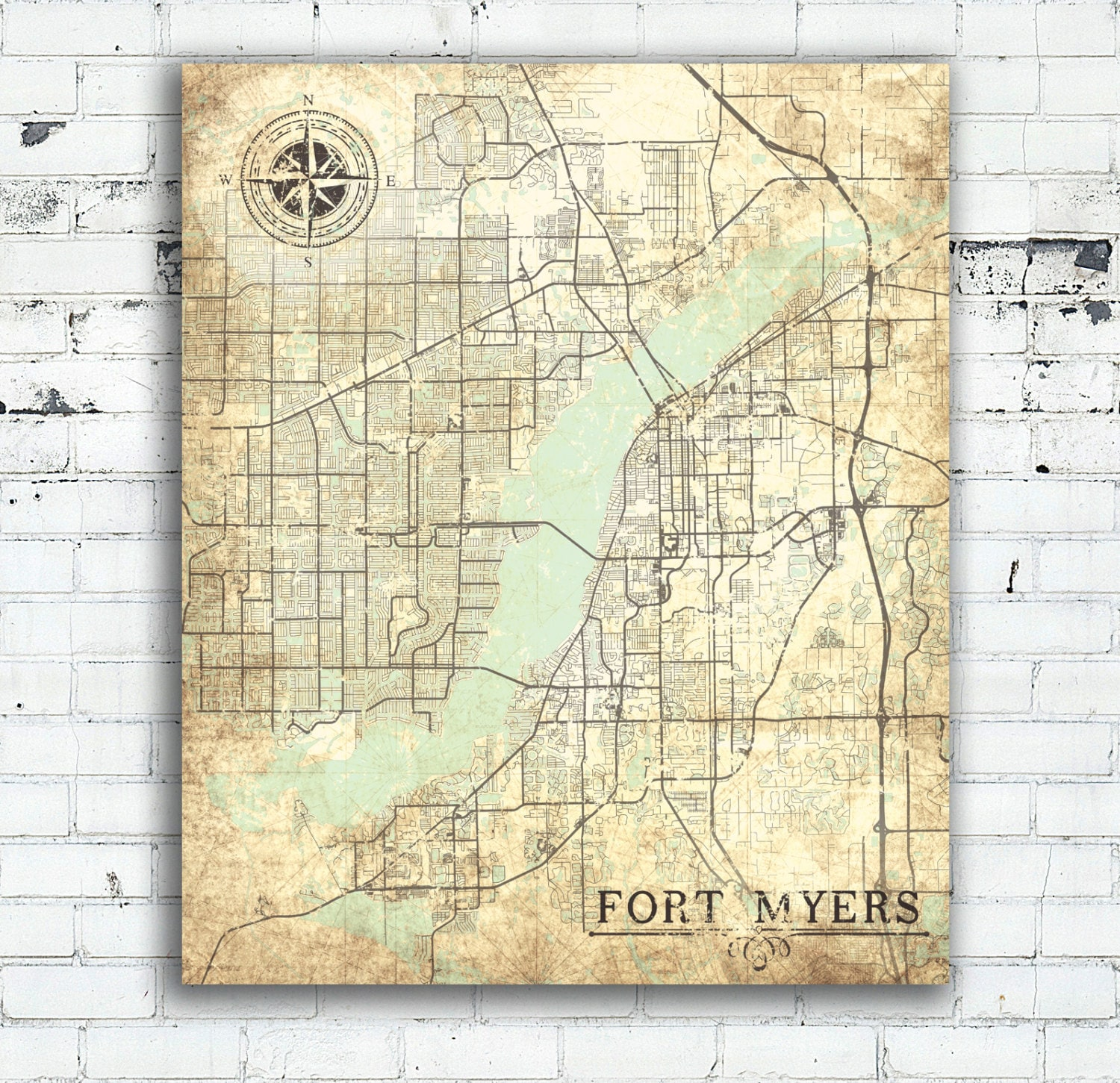 Map Of Fort Myers Florida.Fort Myers Fl Canvas Print Florida Vintage Map Fort Myers Vintage