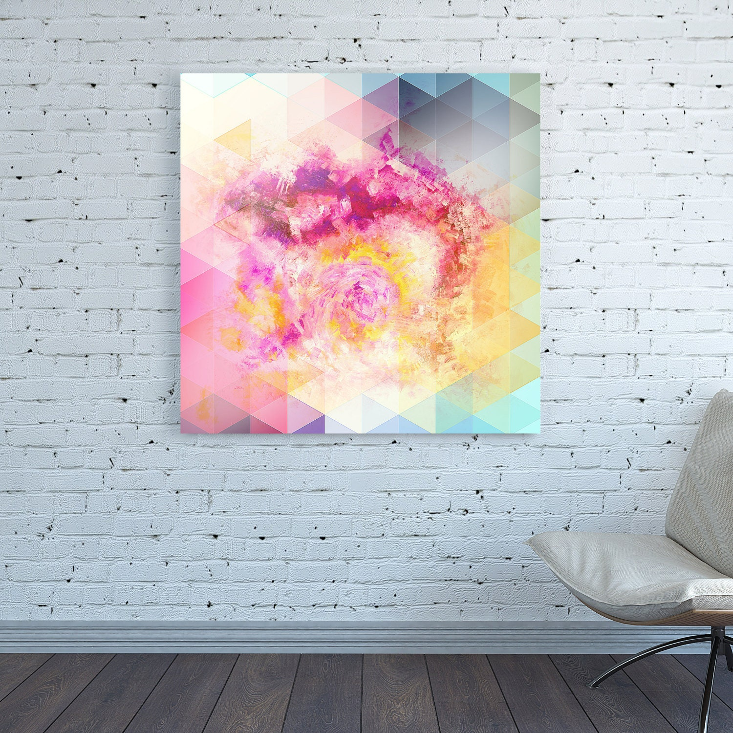 Canvas Print Large Square Painting Colorful Multicolor