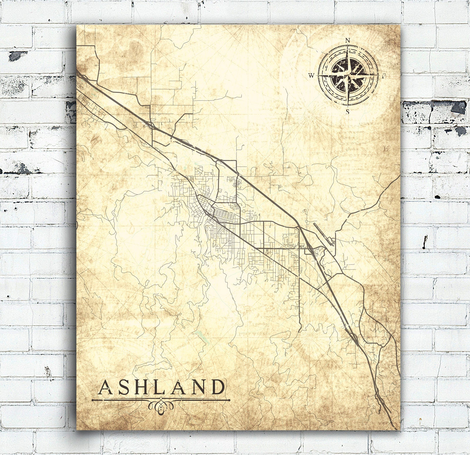 ASHLAND OR Canvas Print Oregon Vintage map Or City Print Town Plan ...