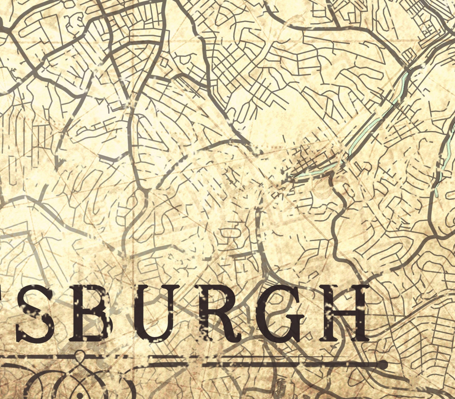 PITTSBURGH PA Canvas Print Pennsylvania Vintage Map