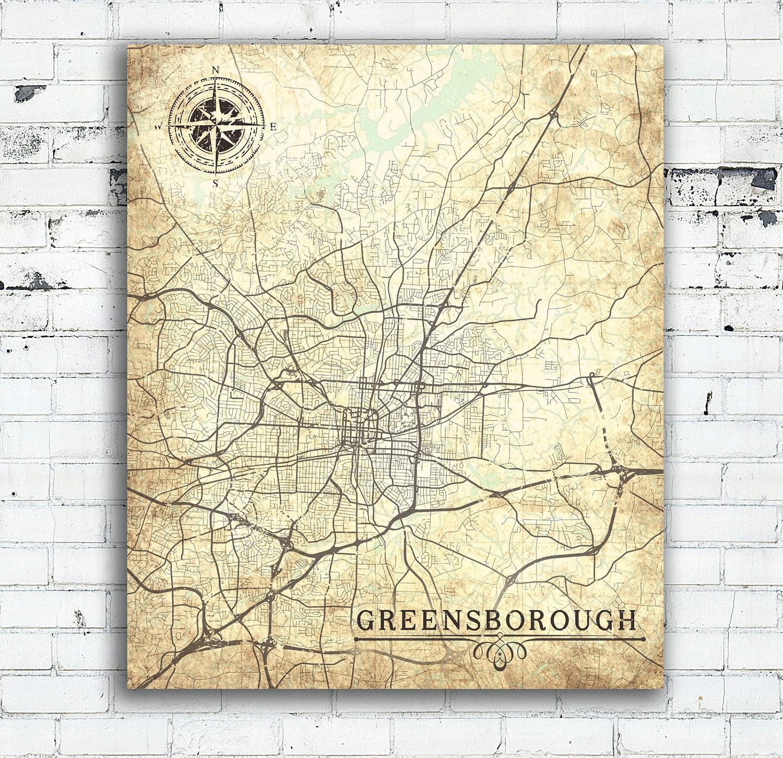 GREENSBORO NC Canvas Print North Carolina Greensboro Nc Vintage map ...