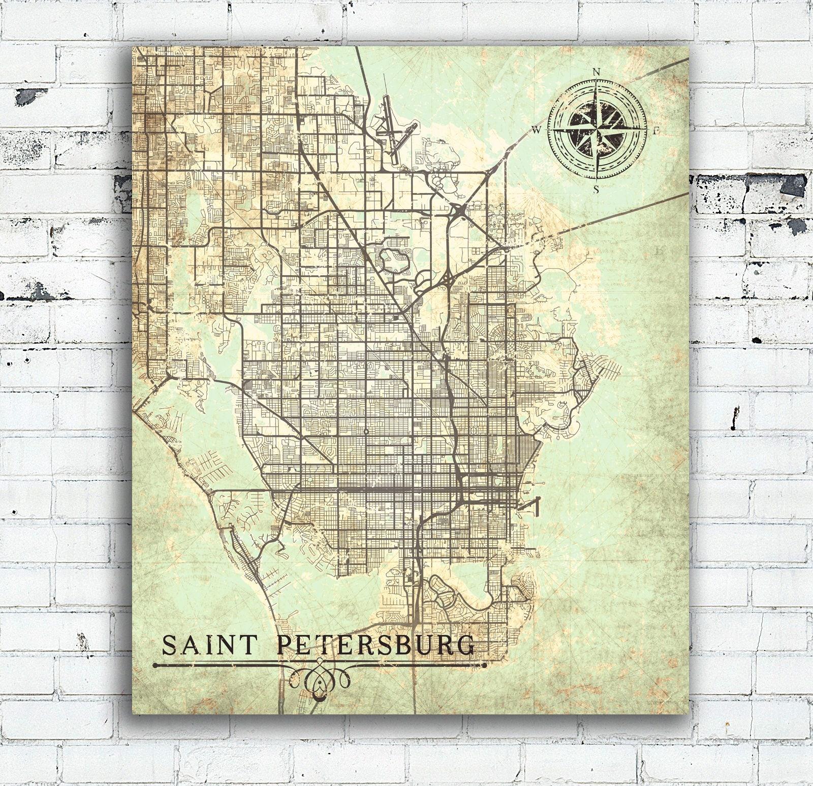 Old Florida Maps.Saint Petersburg Canvas Print Florida Fl Vintage Map St Petersburg
