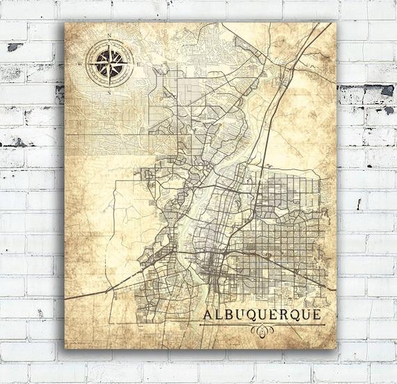 ALBUQUERQUE NM Canvas Print New Mexico Vintage map Albuquerque | Etsy