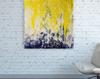 CANVAS PRINT Yellow blue abstract wall art Square blue Yellow White abstract Oversized painting Abstract Wall Art Print Large blue wall art