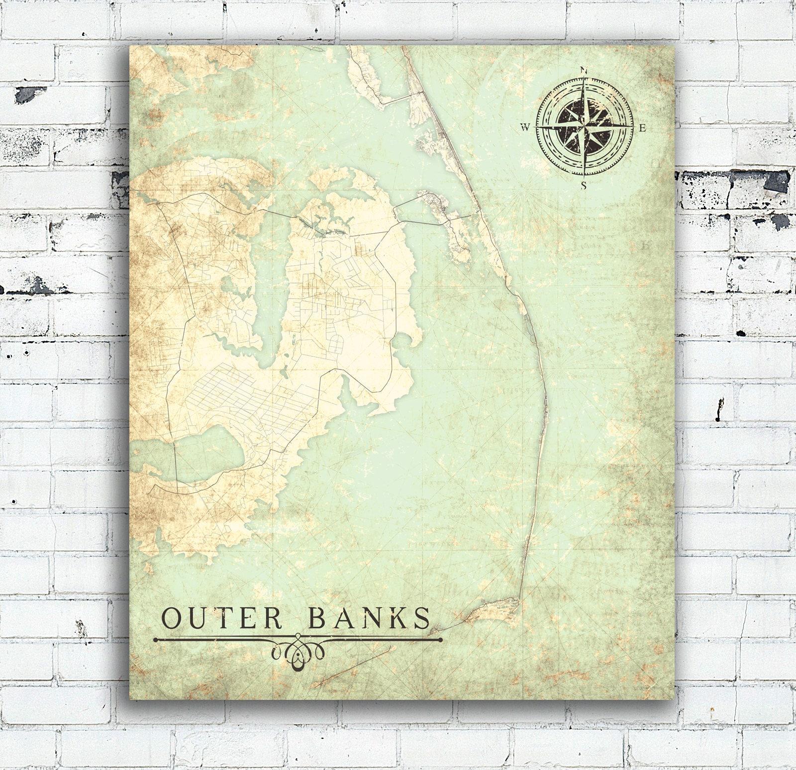 Outer Banks Nc Canvas Print Nc North Carolina Vintage Map Wall Art