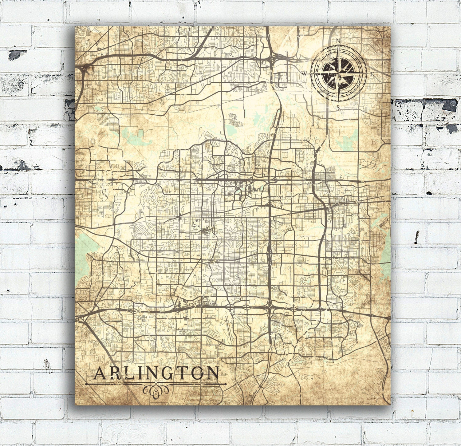 Map Of Arlington Texas.Arlington Tx Canvas Print Texas Tx Vintage Map Arlington Tx City