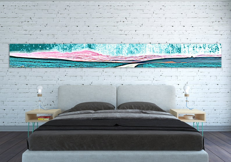 Canvas Print Horizontal Extra Long Narrow Large Abstract Wall Art Landscape Teal Pink Panoramic Oversized Long Wall Art Poster Home Decor