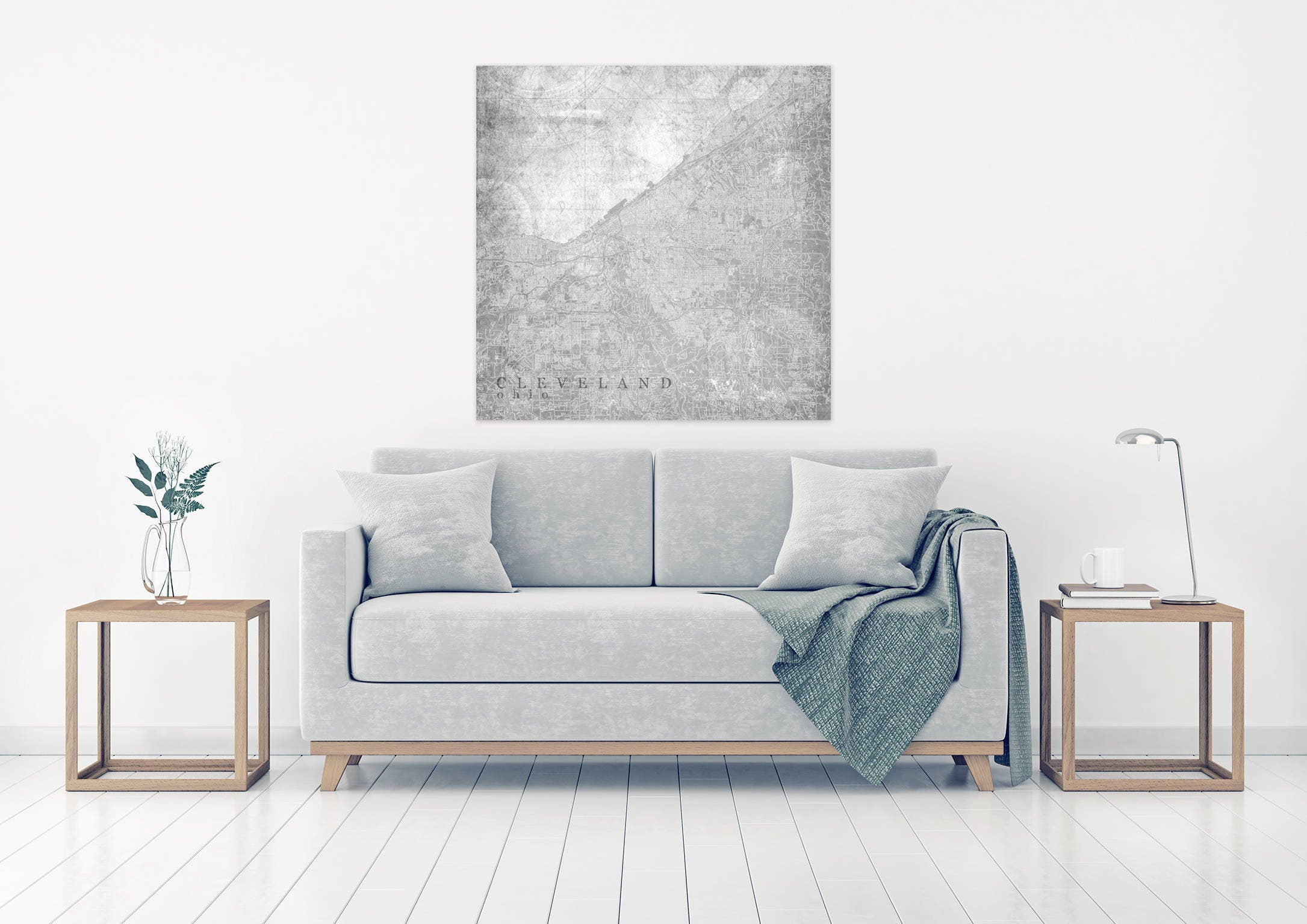Cleveland Oh Canvas Print Ohio Oh Light Gray White Vintage