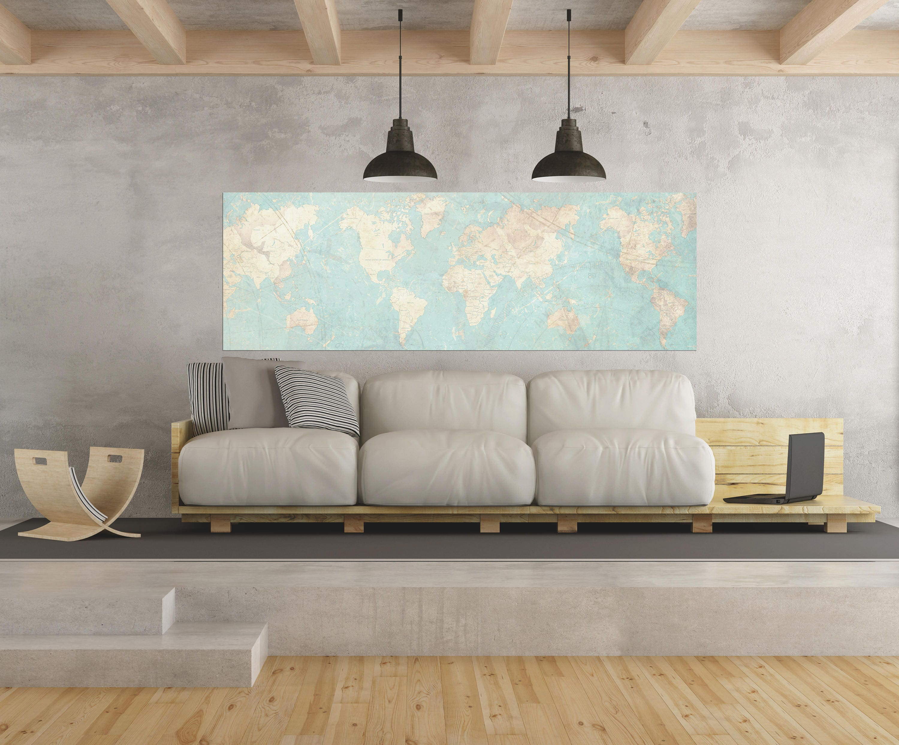 WORLD MAP Canvas Print Vintage map World Map Horizontal Extra Large ...