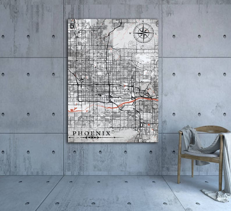 PHOENIX AZ Canvas Print Arizona Vintage Map Phoenix Az City