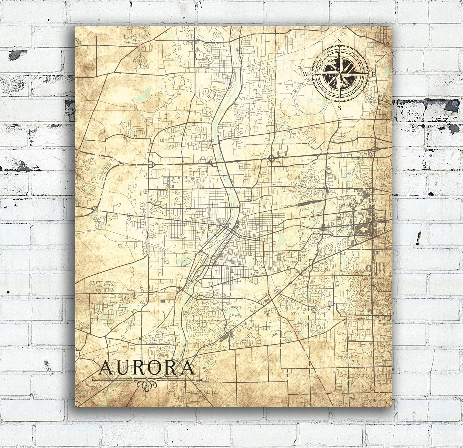 Aurora Il Canvas Print Illinois Il Vintage Map Vintage Wall Etsy