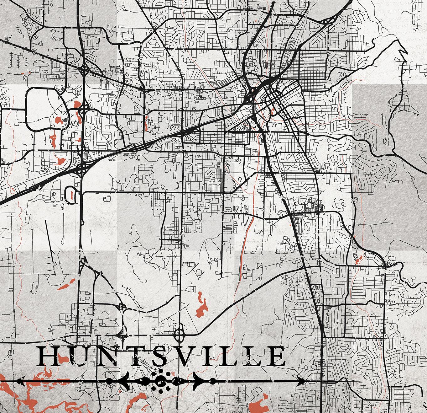 HUNTSVILLE AL Canvas Print AL Alabama Vintage map Huntsville ...