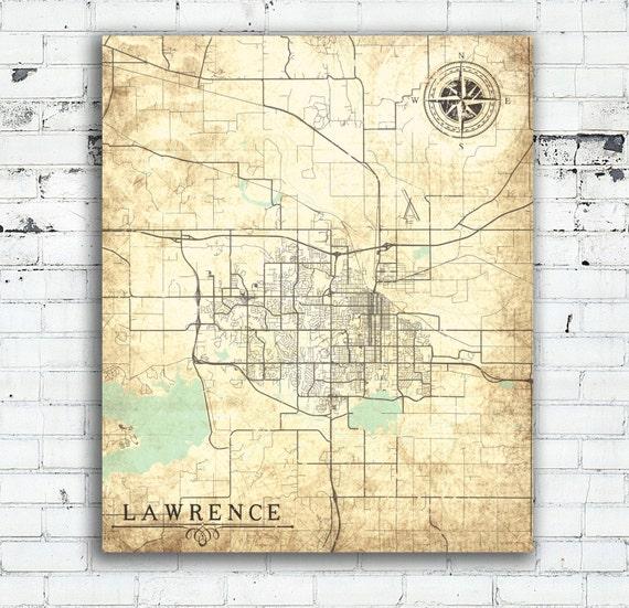 Old Kansas Map.Lawrence Canvas Print Kansas Ks Vintage Map Lawrence City Etsy