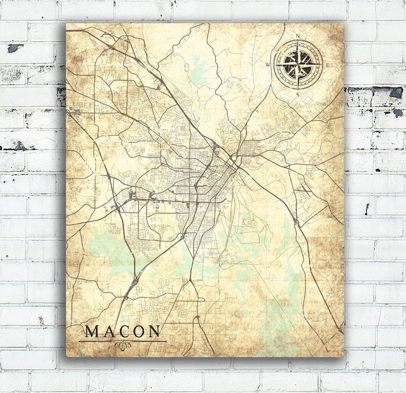 Macon Ga Canvas Print Georgia Ga Vintage Map Macon Ga City Map Etsy
