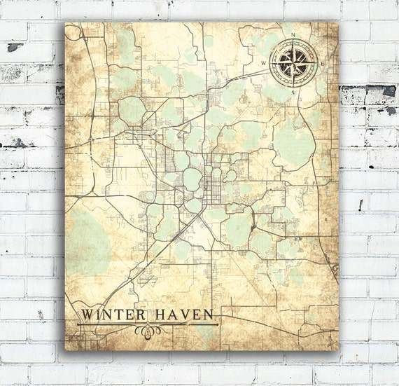 WINTER HAVEN FL Canvas Print Florida Winter Haven Fl Vintage map City Map  Vintage Wall Art map poster retro gift card print home decor map