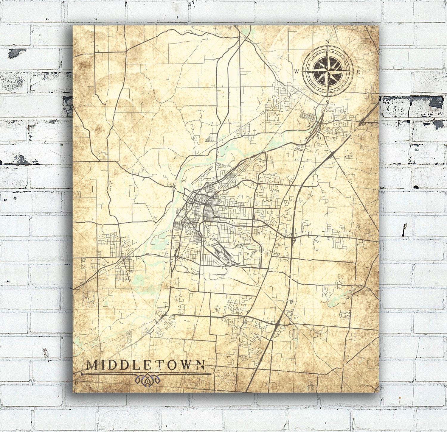 Middletown Oh Canvas Print Ohio Oh Vintage Map City Town Plan Etsy