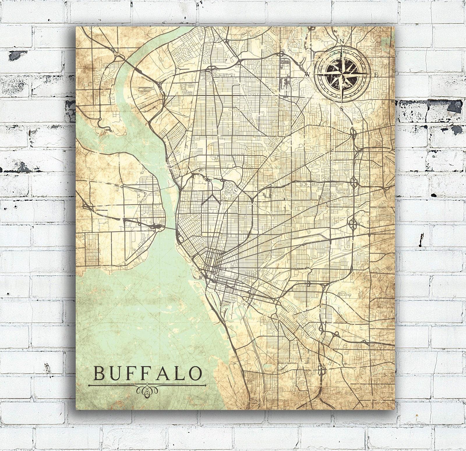 BUFFALO NY Canvas Print Buffalo New York City Map Vintage Map Wall - New york city map wall art