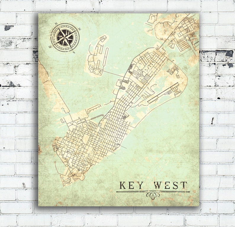 Map Of Florida Key West.Key West Fl Canvas Print Florida Keys Fl Vintage Map City Plan Map Key West Fl Vintage Wall Art Poster Old Map Gift Card Home Decor Poster