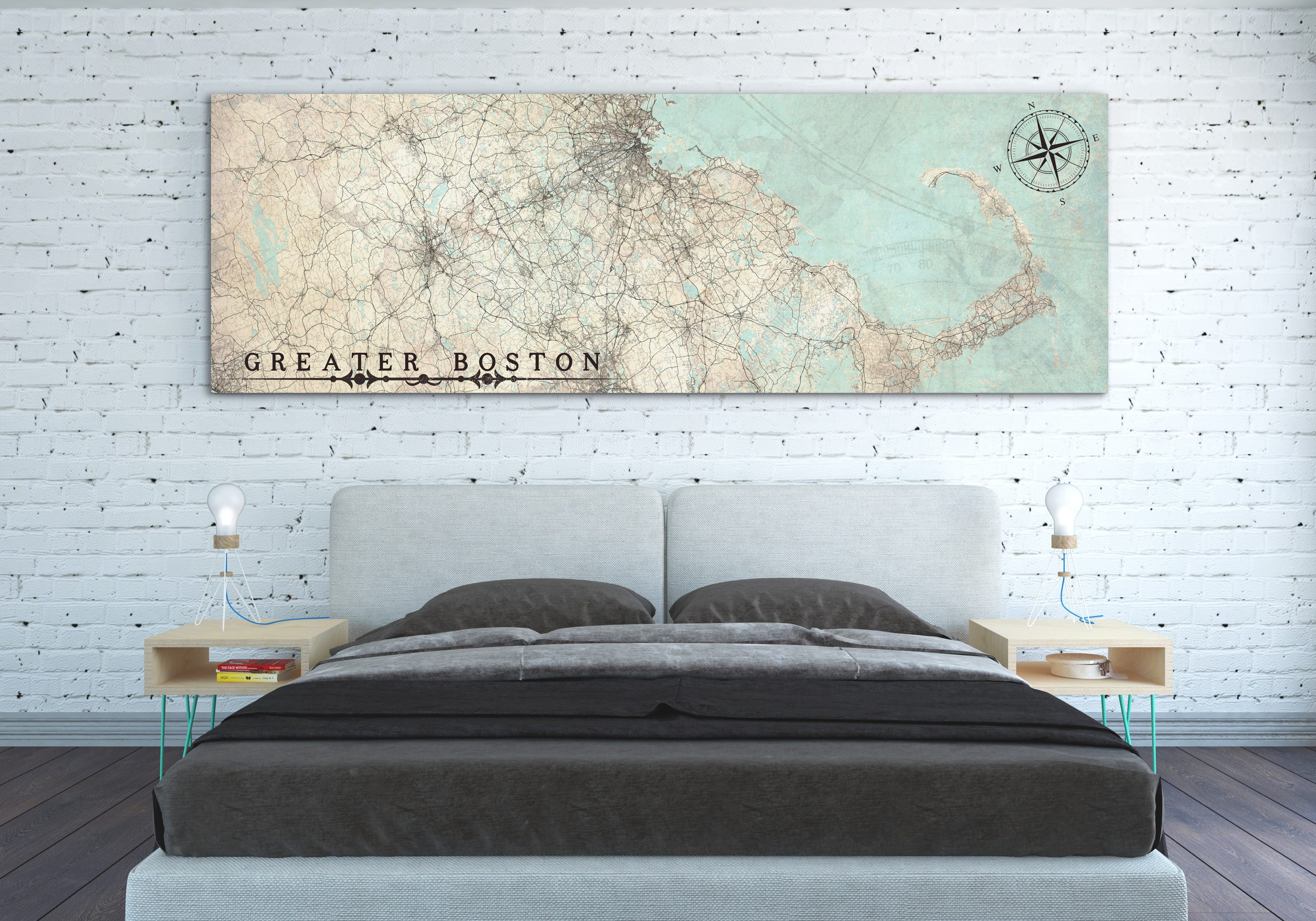 GREATER BOSTON MA Canvas Print Vintage Map Massachusetts Greater Boston Ma  Vintage Map City Horizontal Large Wall Art Vintage Oversized Map