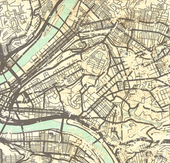 PITTSBURGH PA Canvas Print Pennsylvania Vintage map Pittsburgh pa City  Vintage map Wall Art Print poster retro old gift home decor city map