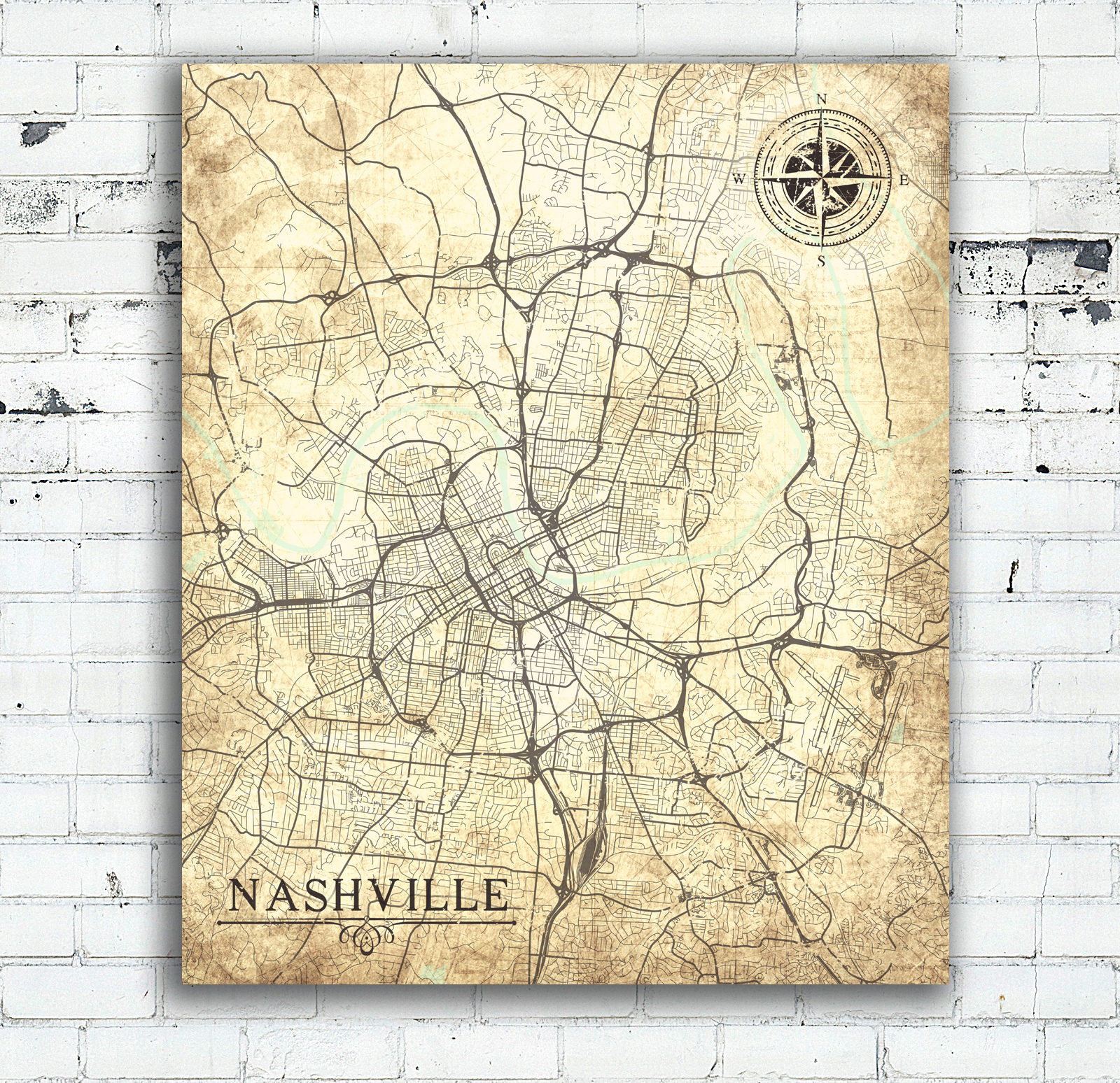 NASHVILLE TN Canvas Print Tennessee TN Vintage map Nashville Tn City on