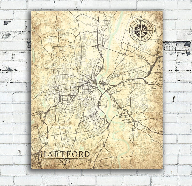 HARTFORD CT Canvas Print Ct Connecticut Vintage map Hartford Vintage City  Map Wall Art map poster Vintage retro antique city gift card map