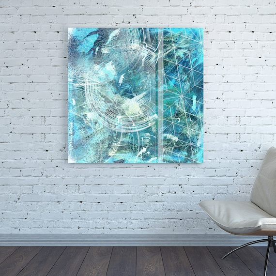 Canvas Print Square Teal Cyan Green Blue Turquoise Painting Abstract Wall Art Large White Oversized Abstract Wall Art Light Poster Art Print