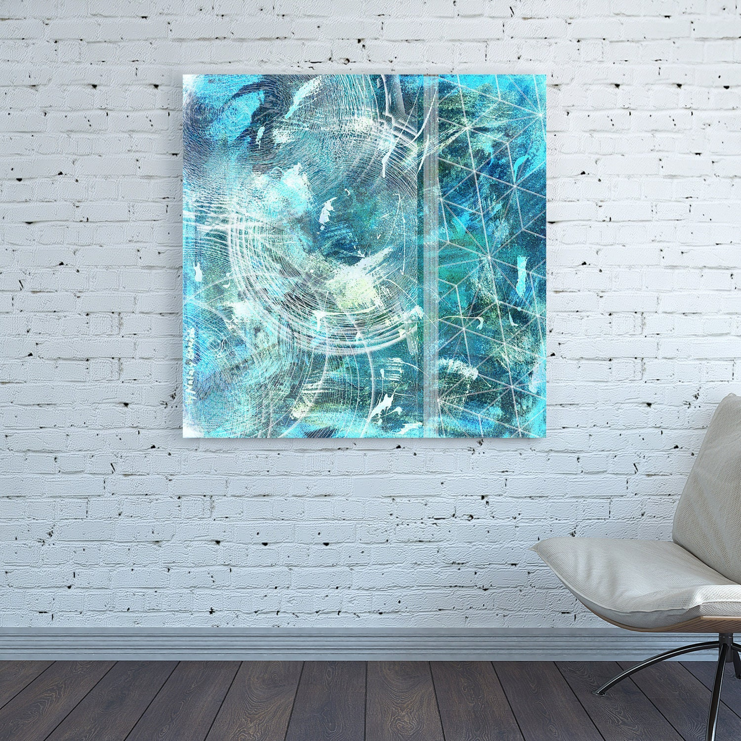 Canvas Print Square Teal Cyan Green Blue Turquoise