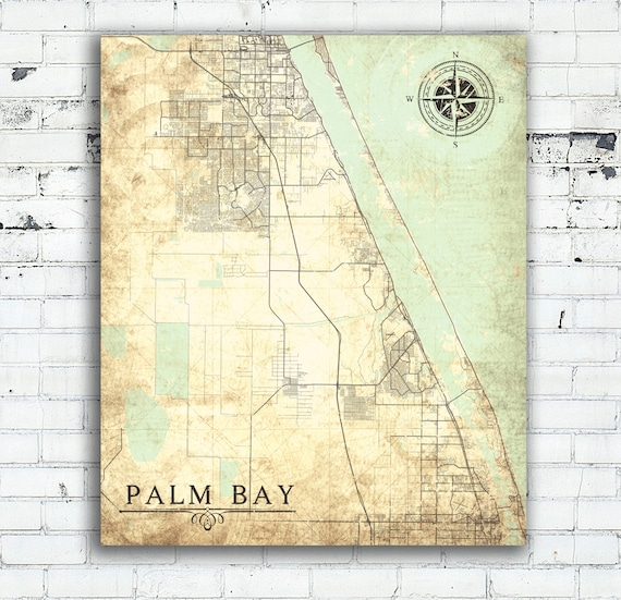 Map Of Palm Bay Florida.Palm Bay Fl Canvas Print Florida Fl Vintage Map City Map Palm Etsy