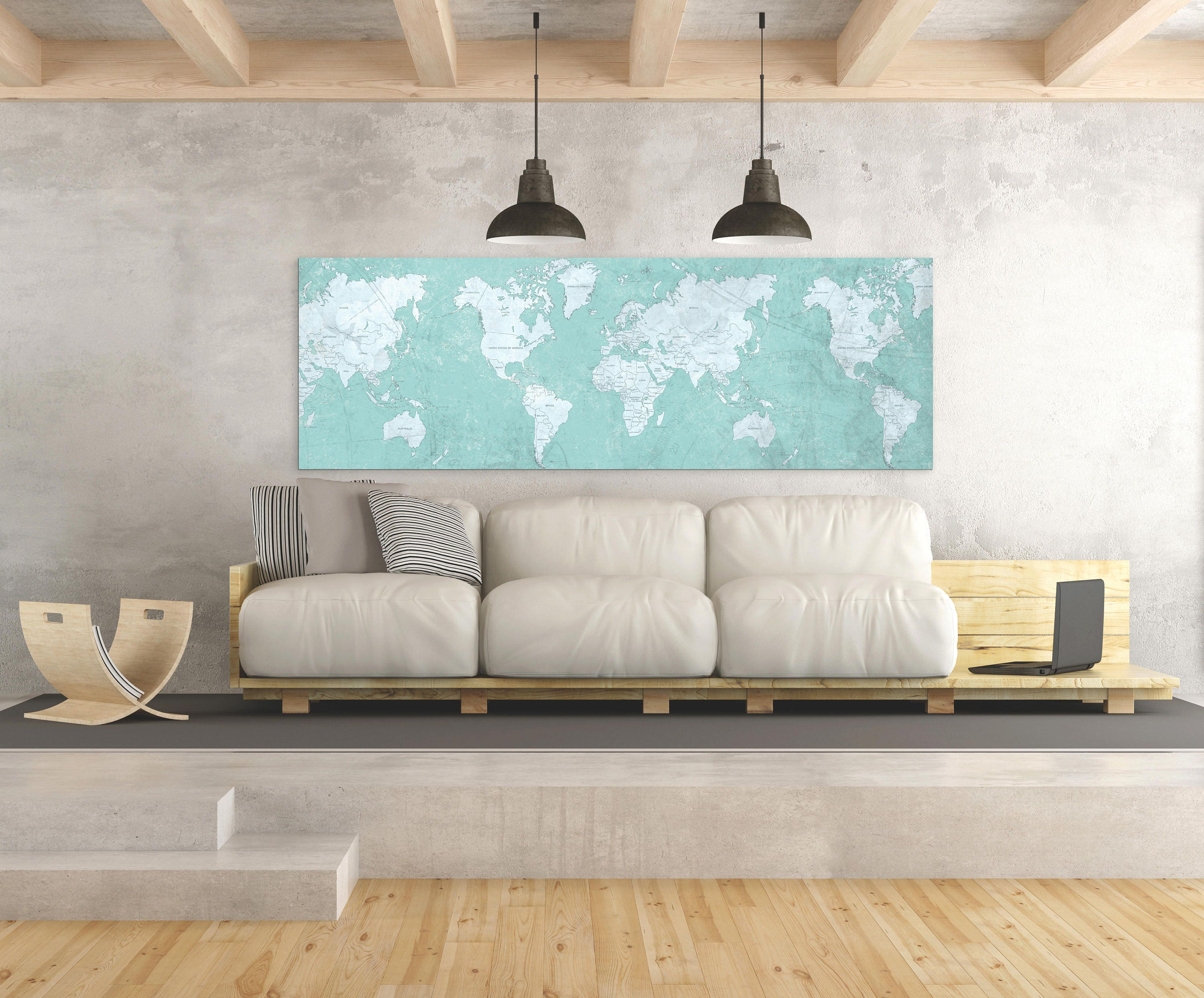 WORLD MAP Canvas Print Vintage Map Blue Tiffany World Map Horizontal - Old world map wall art in blue