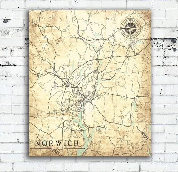 NORWICH Canvas Print CT Connecticut Vintage map Norwich | Etsy