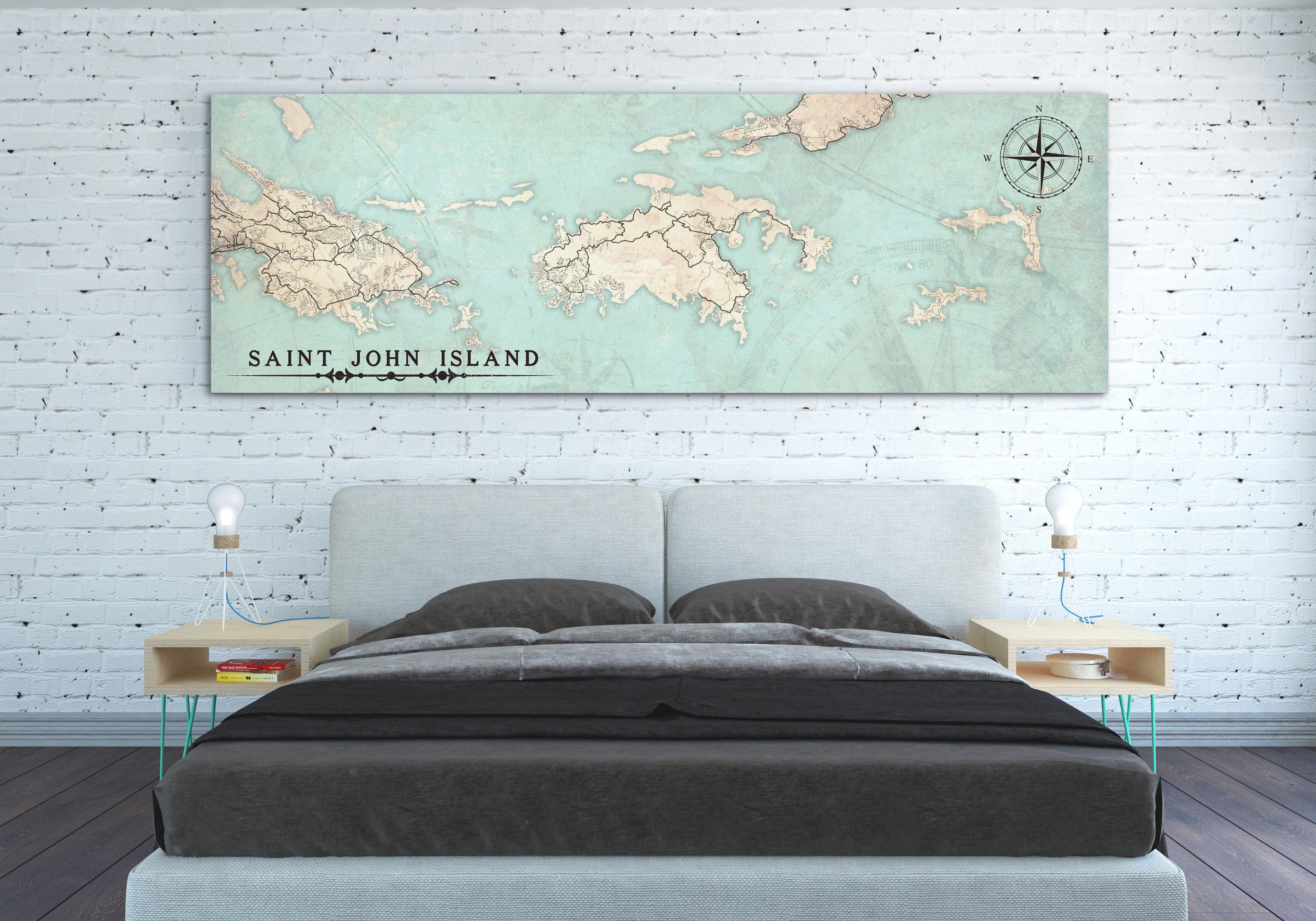 St John Island Usvi Canvas Print Saint John Island Us Virgin - Large-map-of-us-virgin-islands