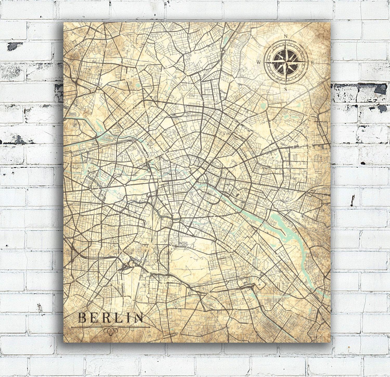 BERLIN Canvas Print Germany Vintage Map Berlin City Germany Vintage - Vintage map berlin