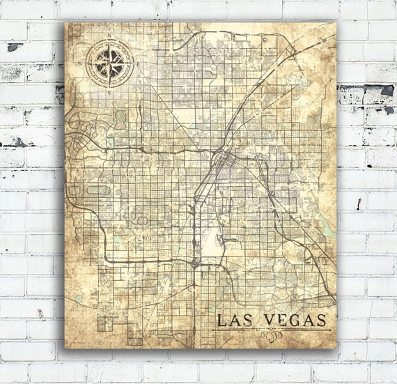 LAS VEGAS NV Canvas Print Nevada Nv Vintage map Wall Art | Etsy