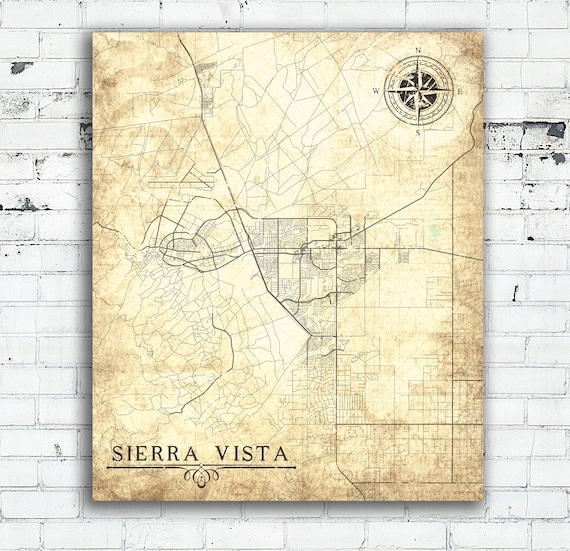 Sierra Vista Az Canvas Print Arizona Vintage Map Town Plan Etsy