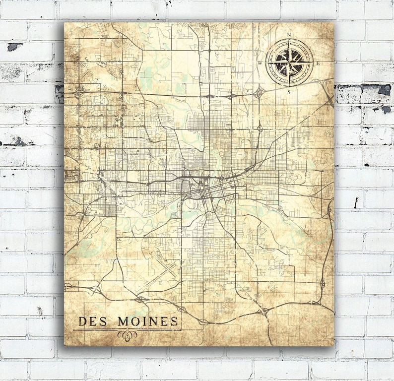 DES MOINES IA Canvas Print Iowa Ia Vintage map Des Moines Iowa Vintage Wall  Art map poster retro antique vintage cream beige ivory gift map