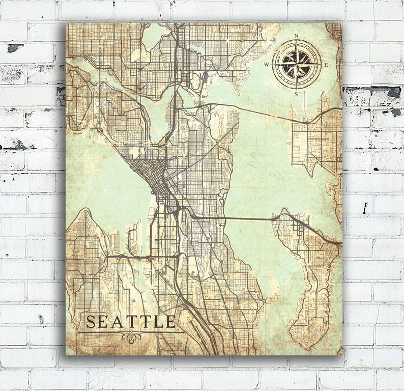 Seattle Map Wa.Seattle Wa Canvas Print Washington Vintage Map Seattle City Etsy