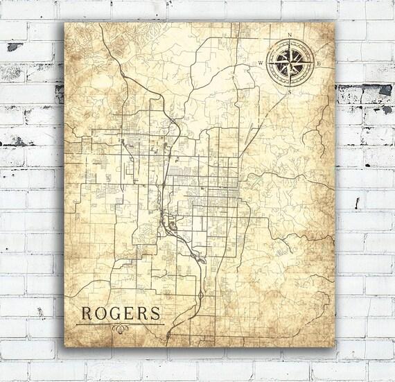 ROGERS AR Canvas Print Arkansas Ar Vintage map Town City Plan Map Arkansas  Ar Vintage Art map poster retro antique old map gift home decor