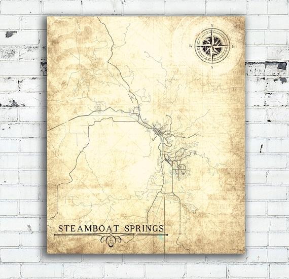Steamboat Springs Co Canvas Print Colorado Vintage Map Vintage Etsy