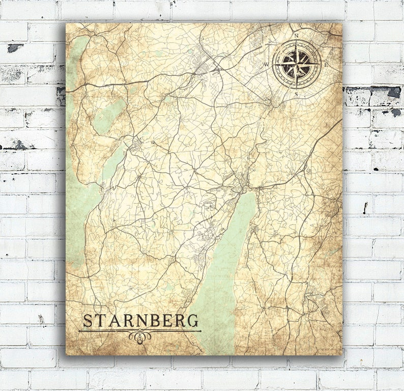 Printable Map Of Germany With Cities And Towns.Starnberg Canvas Print Germany Vintage Map Starnberg City Town Etsy