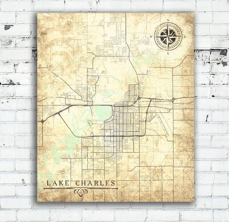 Lake Charles La Canvas Print Louisiana La City Vintage Map Etsy