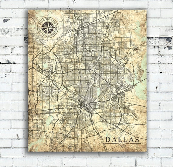 Old Dallas Map.Dallas Tx Canvas Print Texas Vintage Map Dallas City State Etsy