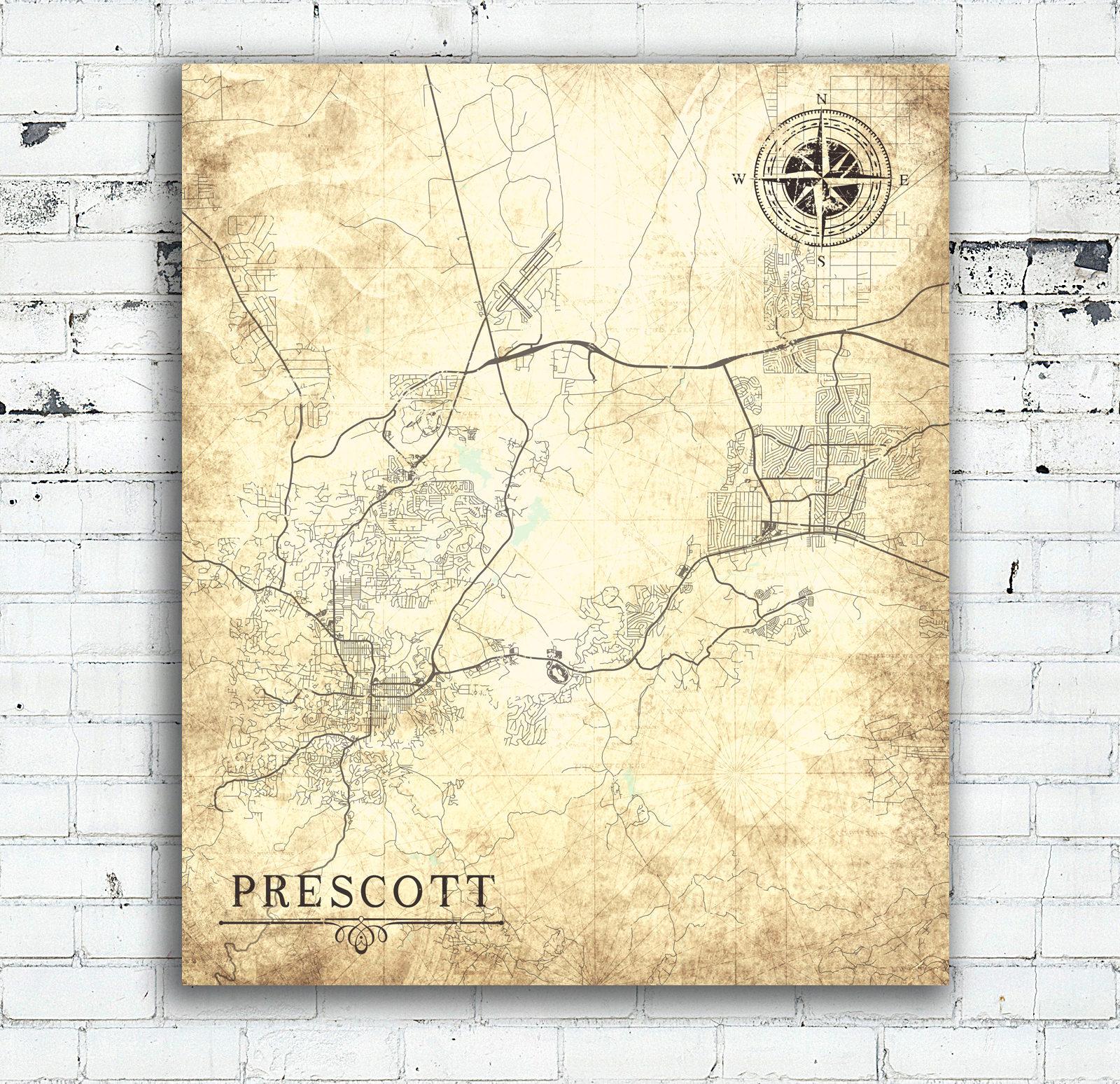 Prescott Az Canvas Print Arizona Vintage Map Prescott Az City Plan