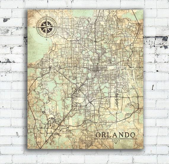 Map Of Orlando Florida.Orlando Fl Canvas Print Orlando Fl City Florida Vintage Map Etsy