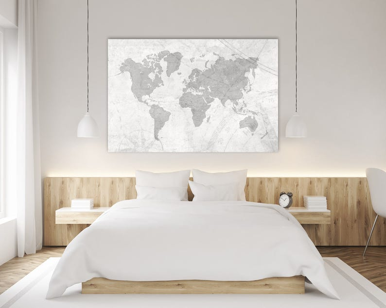 WORLD MAP Canvas Print Vintage Neutral Light Gray White World Map Extra  Large Gray Wall Art Vintage Oversized Horizontal wall art poster map