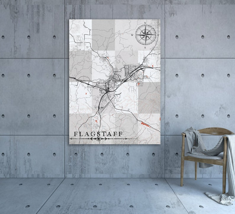 Map Of Flagstaff Arizona.Flagstaff Az Canvas Print Arizona Vintage Map Flagstaff Az Etsy