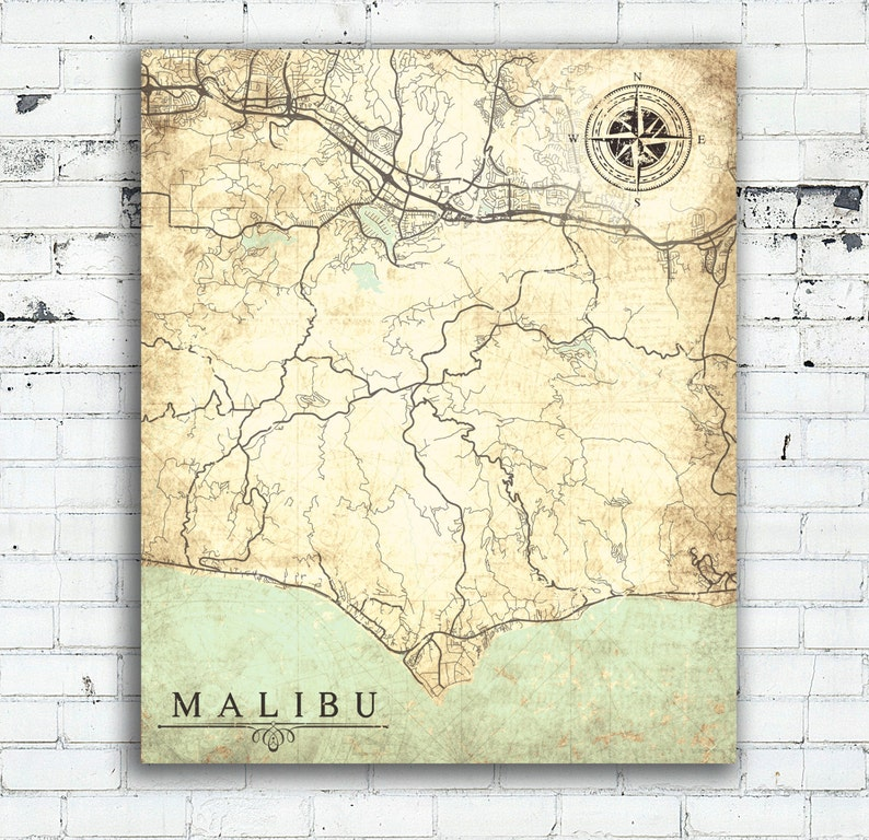 Map Of California Malibu.Malibu Ca Canvas Print California Vintage Map Malibu Ca Etsy